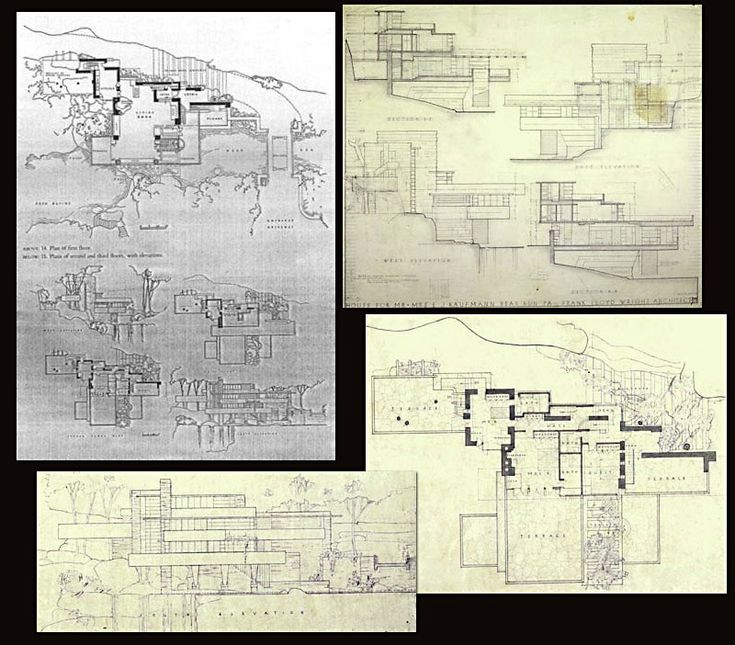 Original Floor Plan And Section Cuts Frank Lloyd Wright