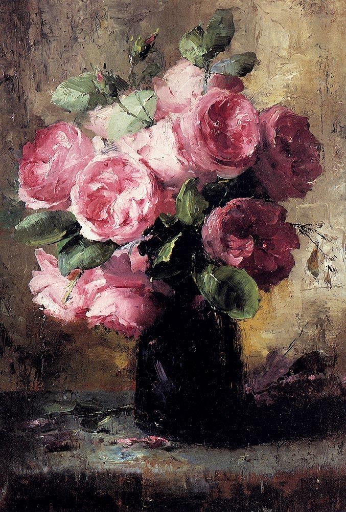 Frans Mortelmans, Belgian painter, The pink rose in a vase. #art #painting