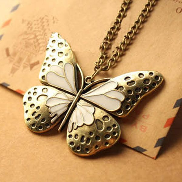Vintage Retro Enamel Butterfly Pendant Long Chain Necklace Womens Girls Jewelry #Unbranded #NecklacePendant