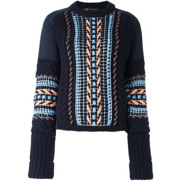Versace oversize stitch knit sweater (14.260 HRK) ❤ liked on Polyvore featuring tops, sweaters, blue, ribbed knit sweater, long sleeve sweater, chunky cable knit sweater, ribbed sweater and cable-knit sweater