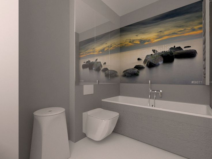 small bathroom with a photo