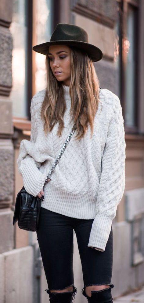 #winter #fashion / ripped denim + white knit