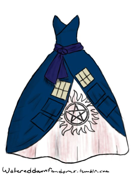 SUPER-WHO-LOCK dress! - Tardis dress, Supernatural anti possession symbol and Sherlocks scarf! Ugh I NEED THIS DRESS!