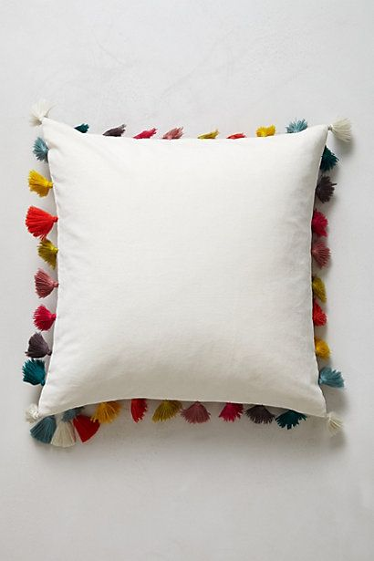 Firenze Velvet Tassel Pillow #anthropologie. LOVE THIS. They show two sizes - square, and more of a rectangle neck rest shape... regardless - the colorful tassels 'make' the pillows and suddenly fills my head with thousands of comparable ideas!!!