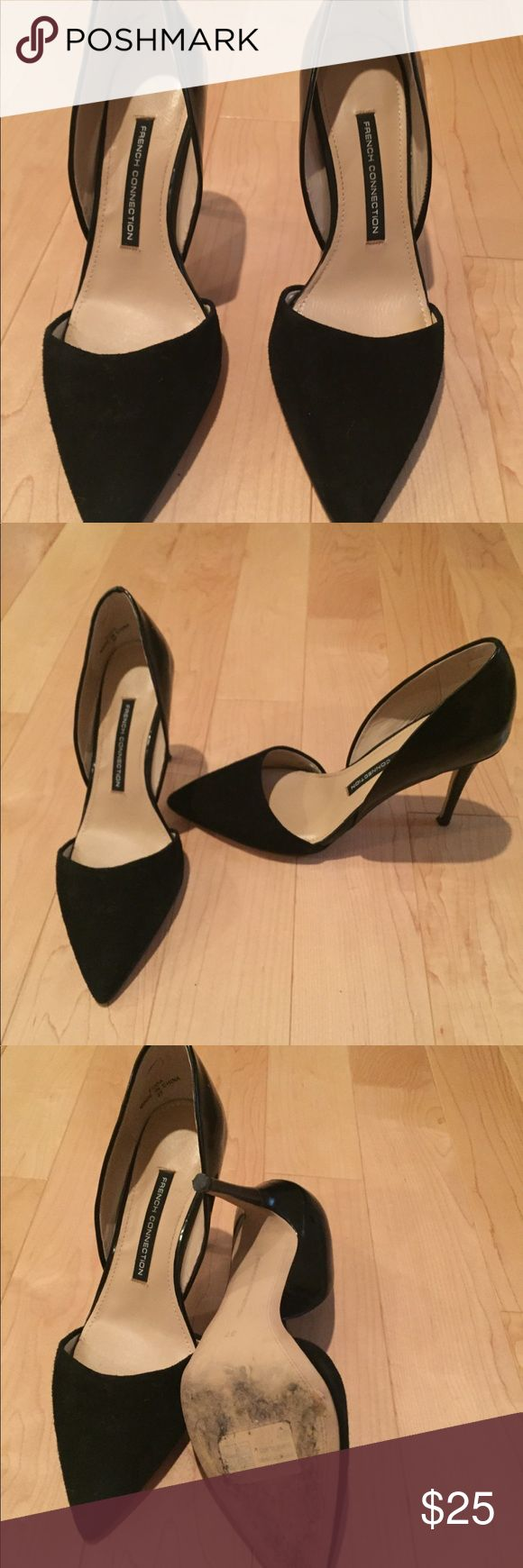 French Connection black suede and leather heels. French Connection black suede and leather heels. Like new, worn twice. Size 37. Top of shoe is suede and back and heel is leather. Great shoe, just too tall for me. Only thing a little worn is the front sole. French Connection Shoes Heels