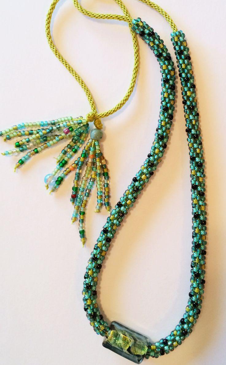 La Brique Focal Bead Kumihimo Necklace by Karen Huntoon www.whatabraid.com