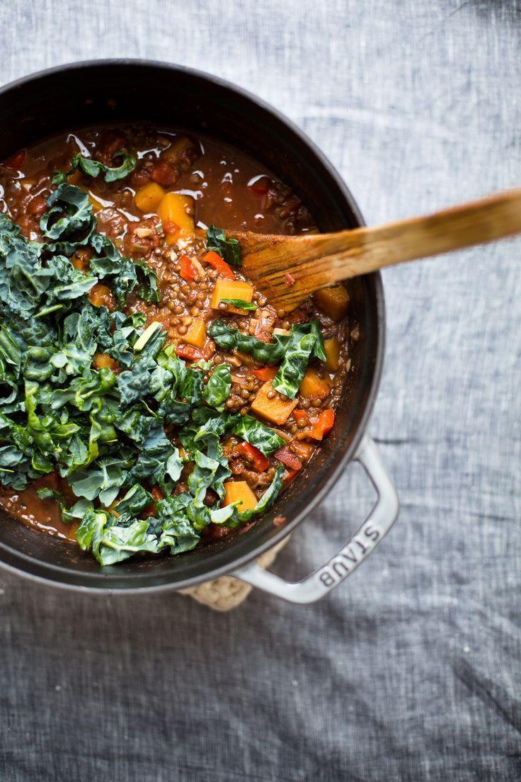 Butternut Squash & Beluga Lentil Chili + Smoky Cashews (Vegan) by The Green Life