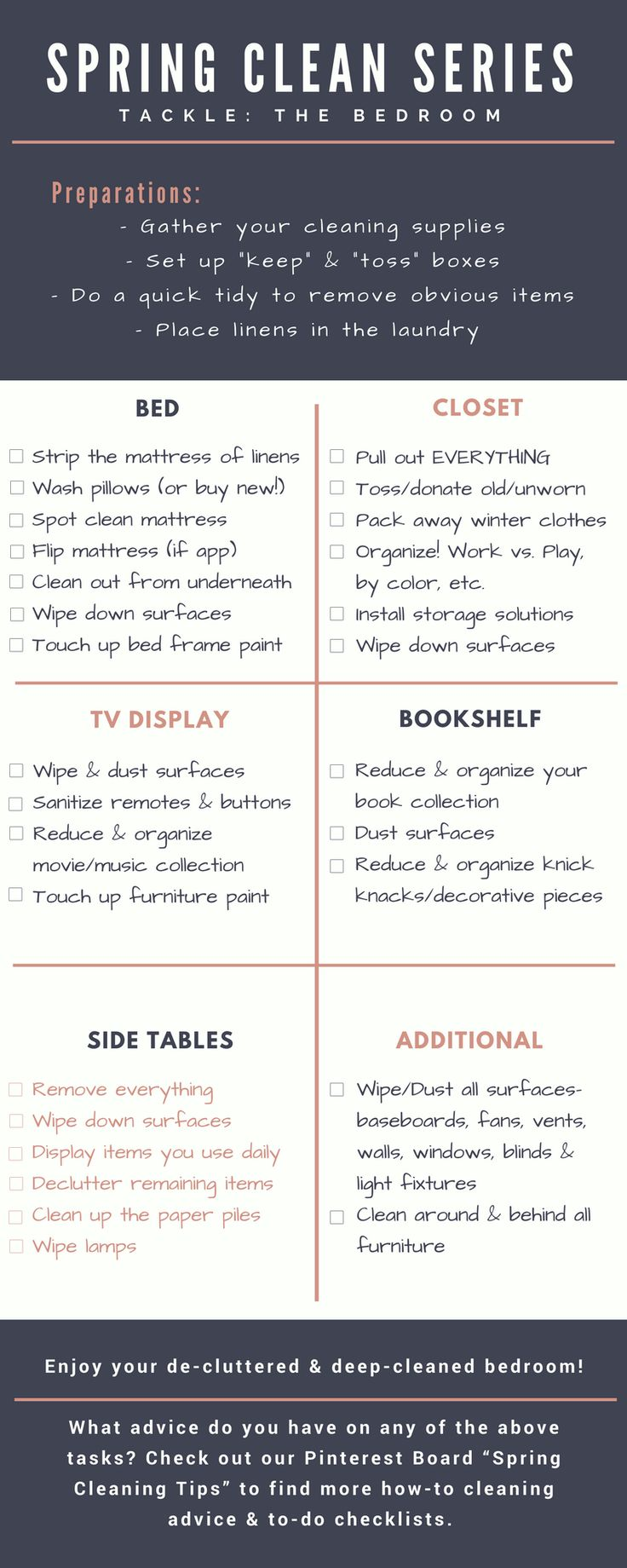 Free printable checklist for spring cleaning and decluttering your bedroom!