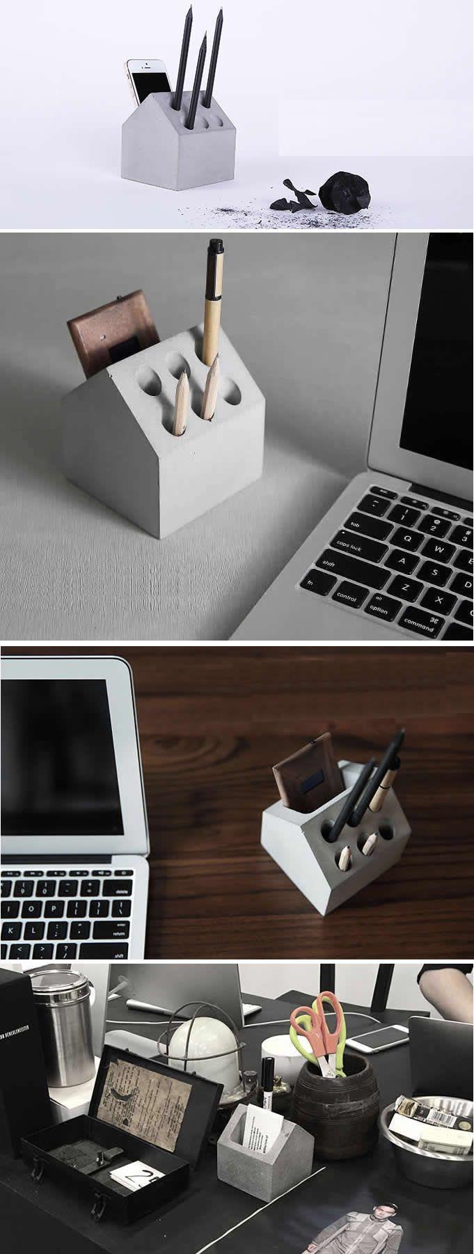 Phone Holder& Pen Pencil Holder Concrete Desktop Organizer