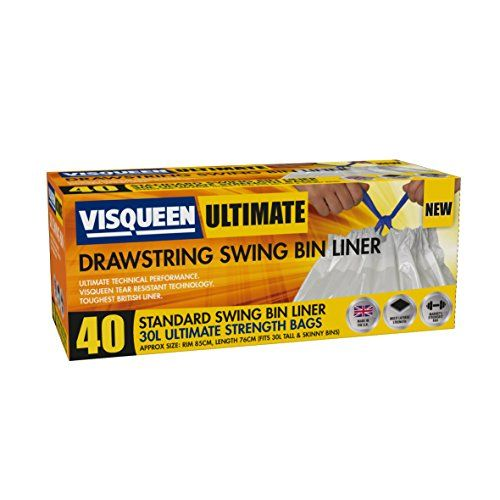 From 4.53 Visqueen Ultimate Drawstring Swing Bin Liner 30l 40 Pack