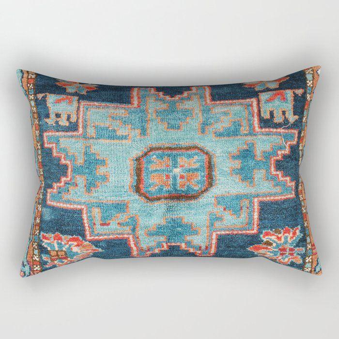 Buy Karabakh Antique South Caucasus Azerbaijan Rug Print Rectangular Pillow By Vickybragomitchell Worldwide Shipping Rectangular Pillow Pillows Throw Pillows