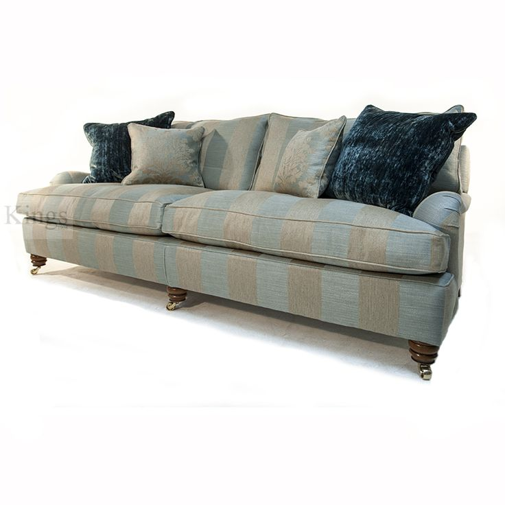Duresta Lansdowne 3 Seater in Sussex Stripe Duck Egg Blue. Sofa 209cm Wide x 90cm Height x 107cm Depth. In as new condition and for immediate delivery. Manufactured to the highest standards by Derbyshire's premier upholstery manufacturer. Was £3196 Now only £2099 http://www.kingsinteriors.co.uk/clearance/duresta-lansdowne-3-seater-in-sussex-stripe-duck-egg-blue