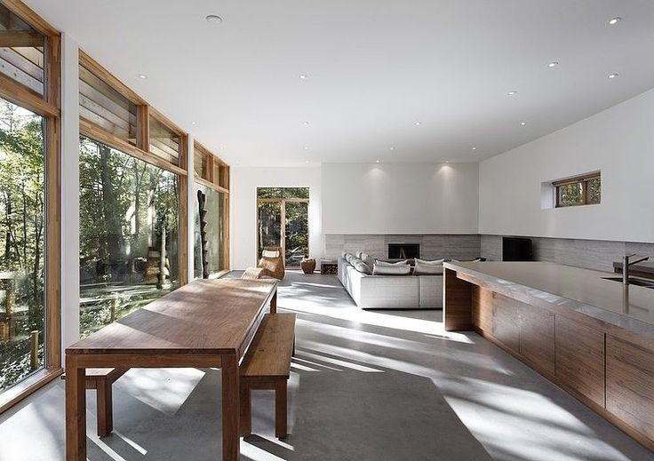 Kitchen island bench - concrete + timber. Carling Residence by Tact Architecture