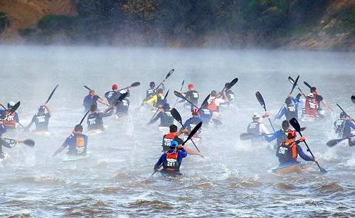 The 240km long, 4 day, Berg River Canoe Marathon. From Paarl to Velddrif on the West Coast of South Africa.  http://www.where2stay-southafrica.com/event/Berg_River_Canoe_Marathon