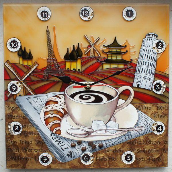 """Gallery.ru / Часы """"Кофе правит миром"""" 30*30 см. - Часы - enehi"""