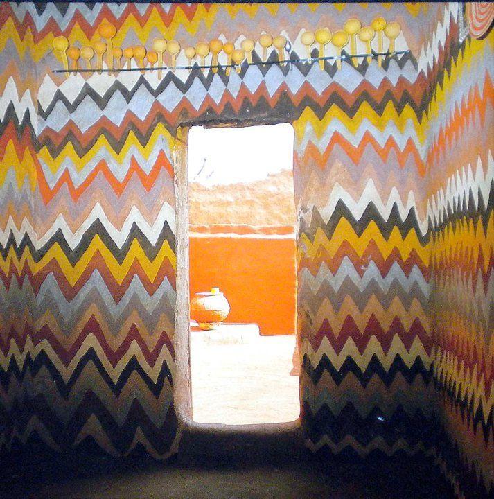 African zig-zag interior.
