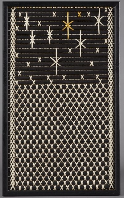 Tukutuku Panel-Lattice Weaving. This panel represents Purapura Whetu the stars or people.