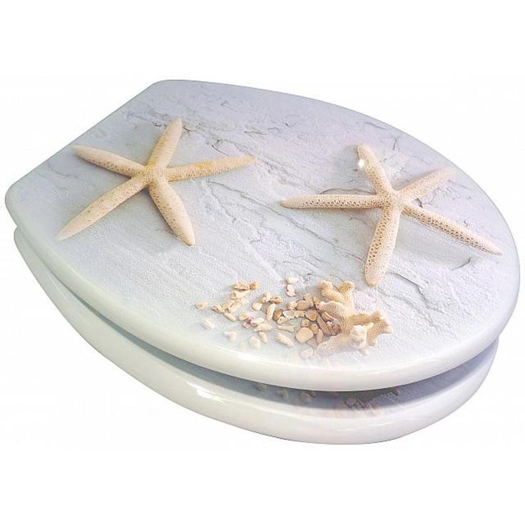Astini Star Fish MDF printed Veneer Toilet Seat With Chrome Metal Hinges (now £25.99 saving £10.00)
