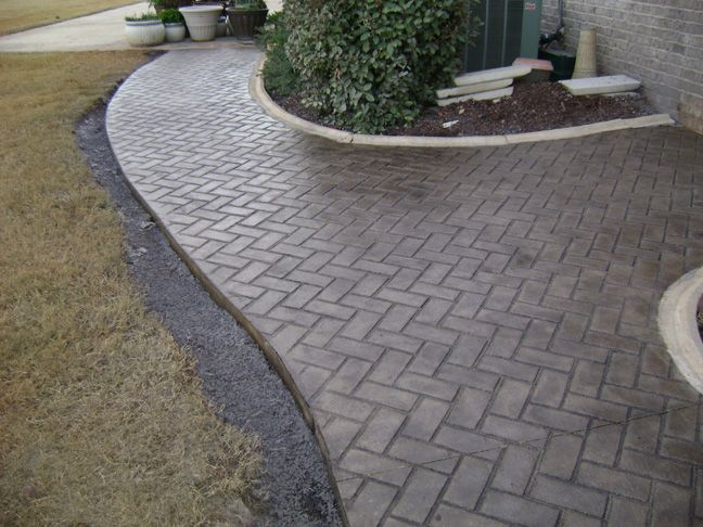 herringbone pattern stamped concrete...love this pattern for driveway and walkway!