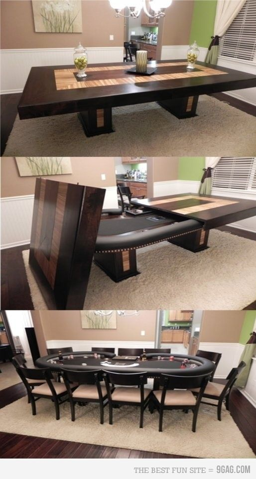 Dining by day, poker by night. - but as a pool table instead! Like the look of the actual table on this one too