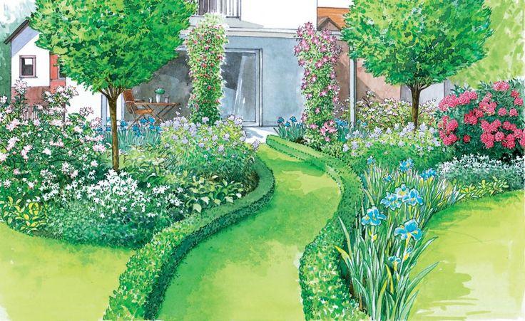 Nach dem Hausbau ist für viele Bauherren Rasen das Mittel der Wahl, um das Grundstück preiswert und pflegeleicht zu begrünen. Hier sind zwei Vorschläge, wie man aus einer solchen Rasenfläche an der Terrasse einen richtigen Garten gestaltet. Mit Pflanzplänen zum Herunterladen und Ausdrucken.