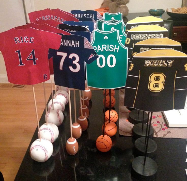 sports baby shower centerpieces