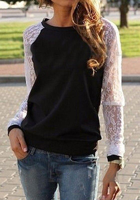 Black Patchwork Lace Pullover Sweatshirt