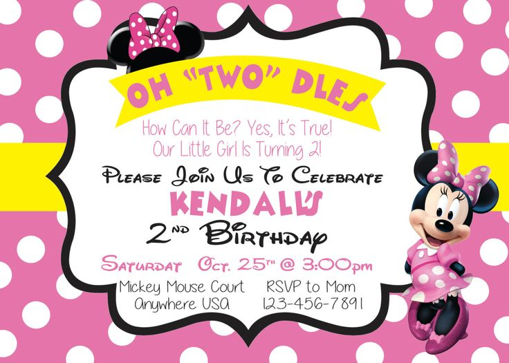 Minnie Mouse Birthday Invitation by OneSwedeChickDesigns on Etsy