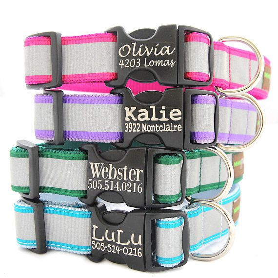 Personalized Reflective Dog Collar - with Laser Etched Buckle - 5 Colors to Choose From