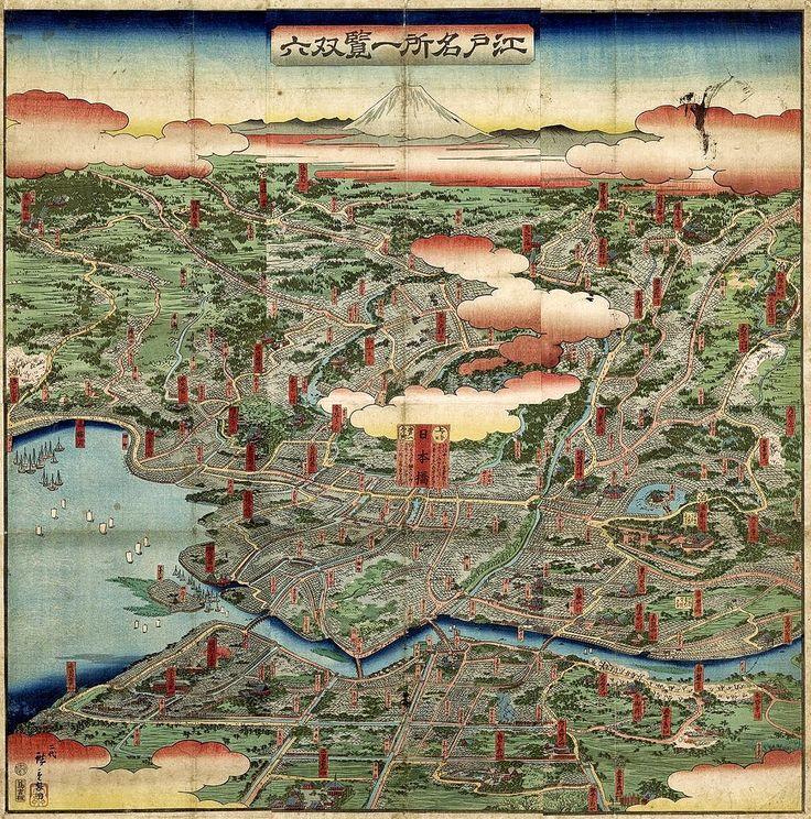 North America Map In 1750%0A Hiroshige II  Edo Meisho Ikken Sugoroku  Japan            Osher Collection