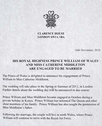 william and kate dating announcement