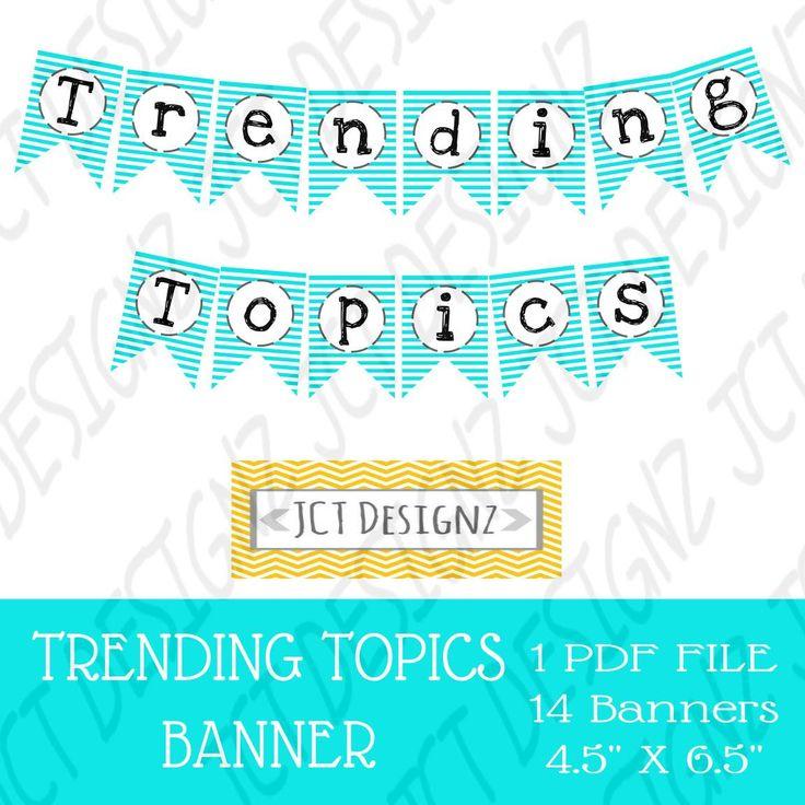 Trending Topics Banner, Trending Topics, Twitter Inspired, Twitter, Social Media, Twitter Banner, Topics Banner, Social Media Banner, Tech by JCTDesignz on Etsy