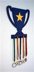 Blue trophy wall display with yellow star. 9 hooks for your medals.  Medal display for your kids room, game room or garage. Sport Interiors creates high quality sports sport furniture and accessories. We can customize our products with your team's favorite colors!