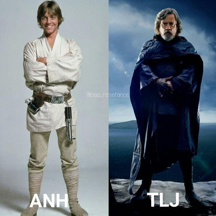 Luke Skywalker, from a farmboy on Tatooine to a Jedi legend #starwars #thelastjedi #episode8 #anewhope #episode4 #hope #rebelalliance #resistance #jedi #legend #markhamill #spacetwin #comparison #1977 #2017