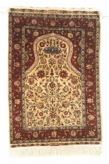 Hereke Silk and Metal Thread Prayer Rug, Northwest Anatolia, early to mid-20th century, 3 ft. x 2 ft.   | Skinner Auctioneers Sale 2347