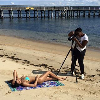 Behind the scenes on today's shoot for the new @savu.collections LOLoDA collection @breanna_herbert from @brazenmodels wearing @emelle_swimwear and @danielleshukur jewels ❤️ h and m @samantha_nicholls #urbanexotic #melbourne #brightonbeach #fashion #sunday #spring #beach