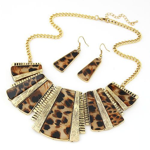 European Fashion Metal Choker Design Leopard Necklace Earrings Set Women Vintage Geometric Jewelry Set Accessories #Affiliate