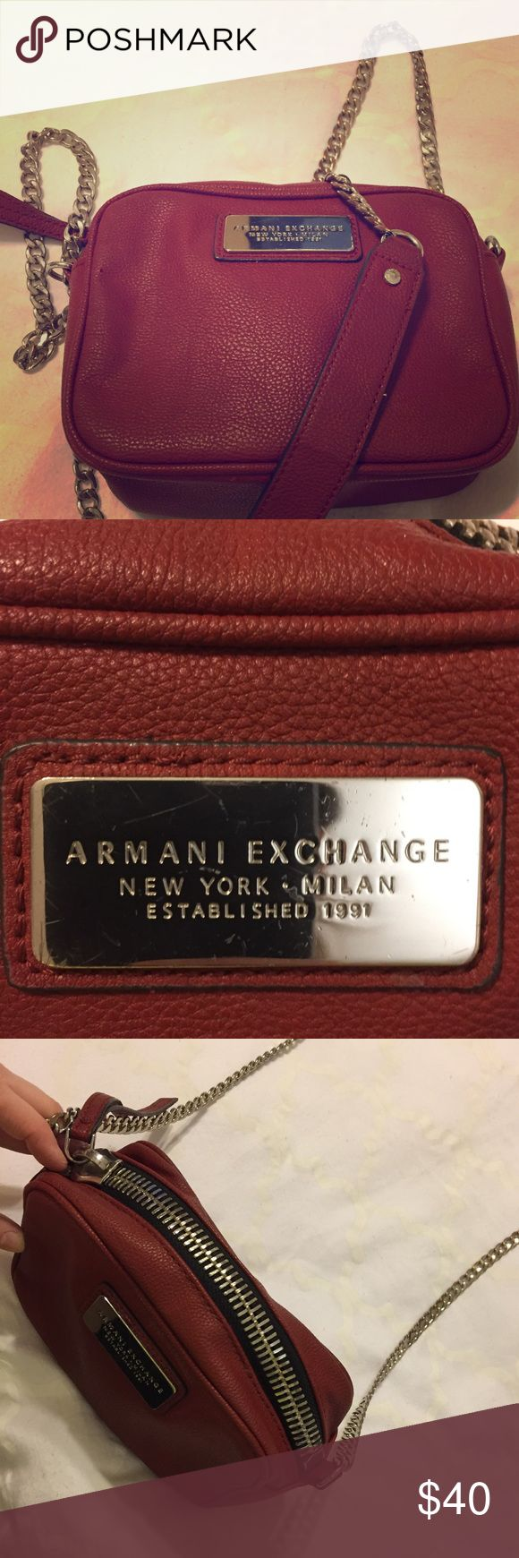 Armani Exchange Red Chain Purse I'm beautiful condition! It's a staple to have in your closet. Armani Exchange Bags Crossbody Bags