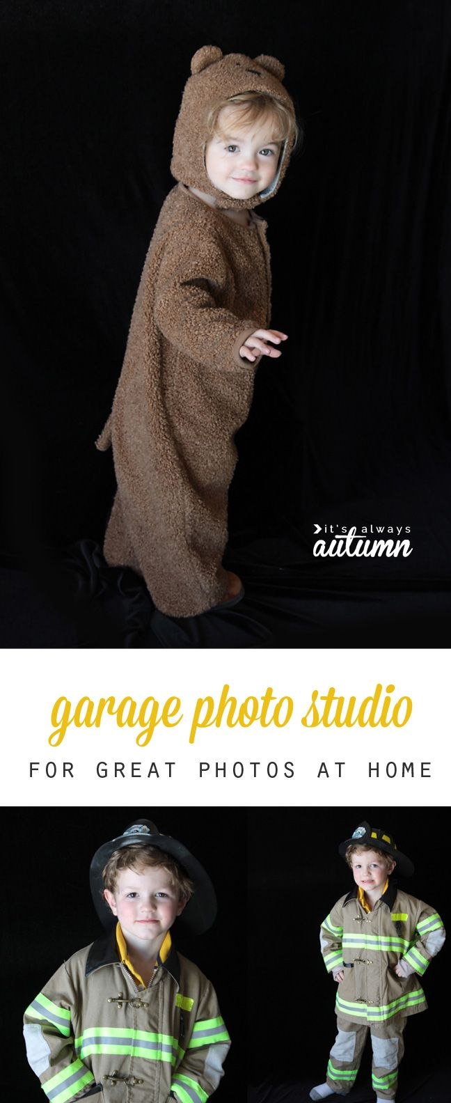 This post shows you how to set up a super simple DIY garage photo studio so you can get great pictures of your kids at home! It's perfect for taking pictures of kids in costumes on Halloween.