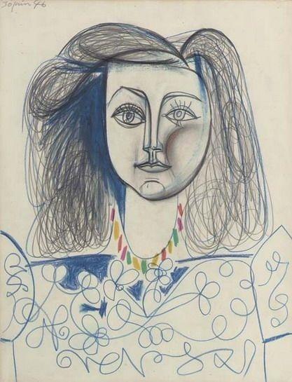 pablo picasso | Buste de Femme , Francoise Gilot. 1946