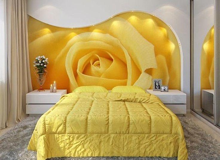Желтая спальня   #желтый #спальня #фотообои