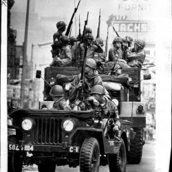The Army entering Newark, NJ during the 1967 riots. The riots were caused by police racial profiling, redlining and lack of opportunity in education, training, and jobs.