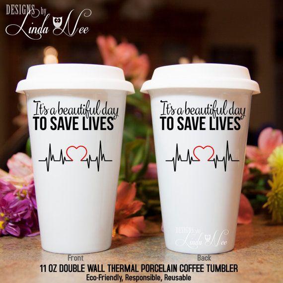 Grey's Anatomy TRAVEL Ceramic Coffee Tumbler Mug, Beautiful Day to Save Lives, Greys Anatomy TV Show, Ceramic Travel Coffee Doctor Dr MSA134