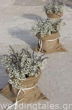 Μικρά λουλουδένια τσουβάλια - για το στολισμό της εκκλησίας