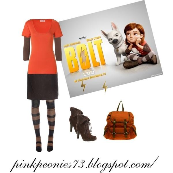 Penny Bolt. YES! Penny: need black boots, black and white stripped leggings, black shorts, black long sleeve shirt, red T shirt, back pack and binocs. Bolt: black lightning bolt.