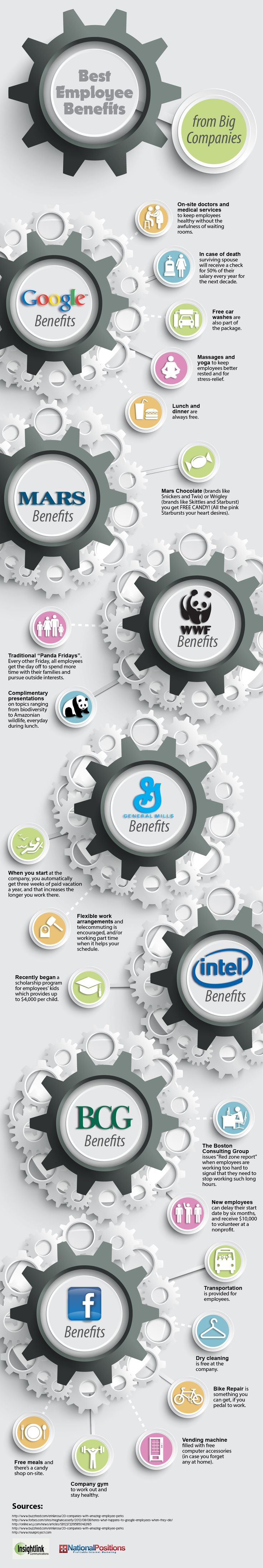 Best Employee Benefits From Big Companies   #infographic #EmployeeBenefits #BigCompanies