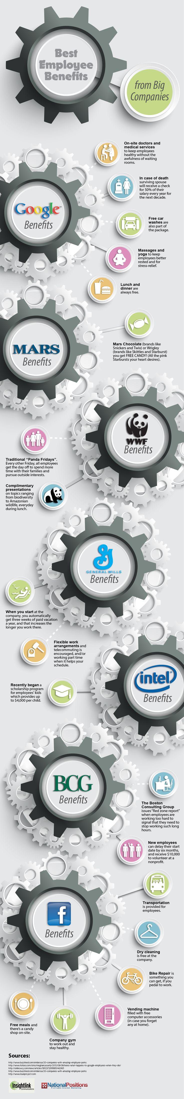 Best Employee Benefits From Big Companies   #infographic #EmployeeBenefits #BigCompanies