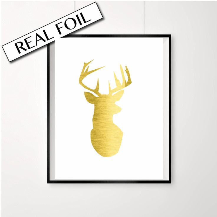 Stag head print // Real gold foil print // Moose // Animal poster //