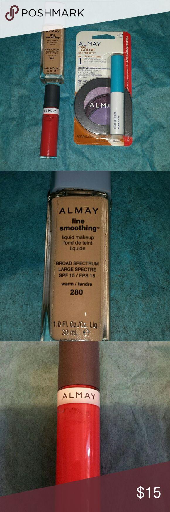 NEW Almay makeup bundle Brands new never opened Almay makeup.  Line smoothing liquid makeup foundation, spf 15, warm 280.... liquid lip balm , apricot 900... and eyeshadow and mascara pack no.1.. almay Makeup