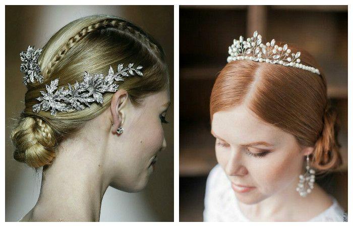 Фото свадебной прически с заколкой и короной на средние волосы